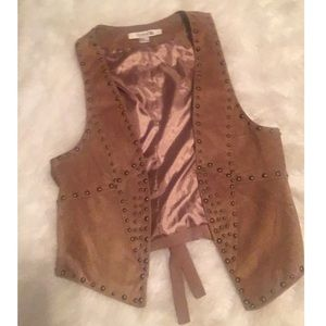 Faux suede tan vest with rustic studs